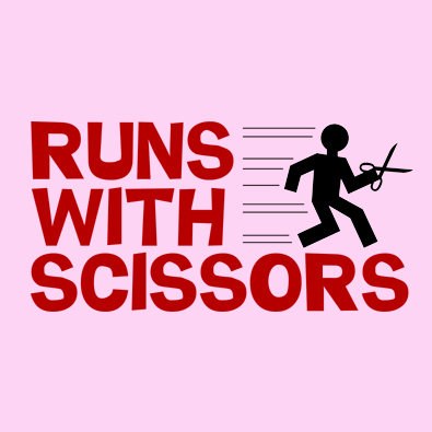 Runs With Scissors t-shirt, an update of one of our earlier designs.