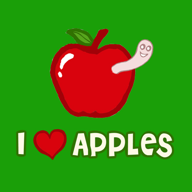 Cool cute I Love Apples worm t-shirt.